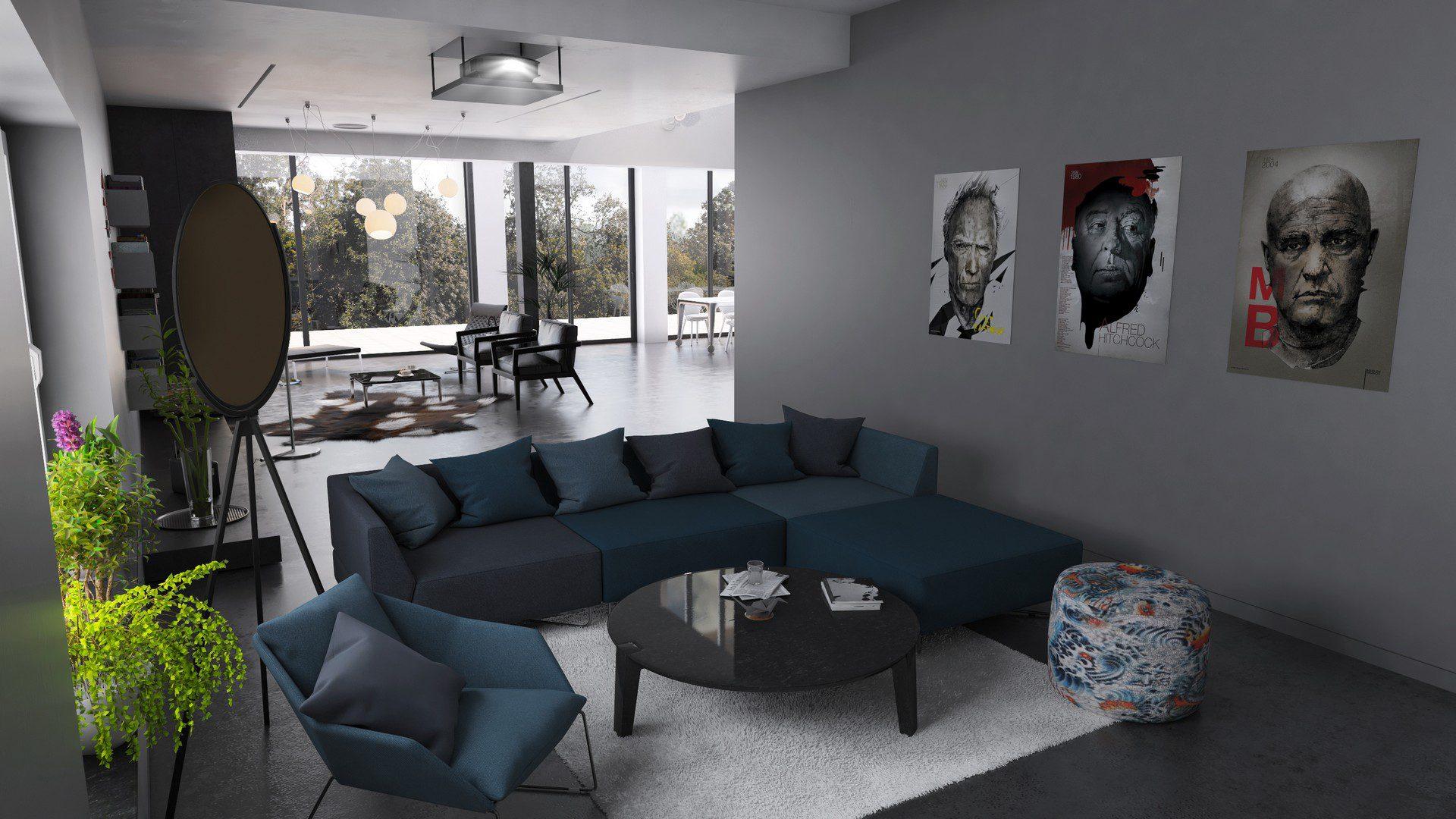pokój dzienny w domu jednorodzinnym wizualizacja fotorealistyczna