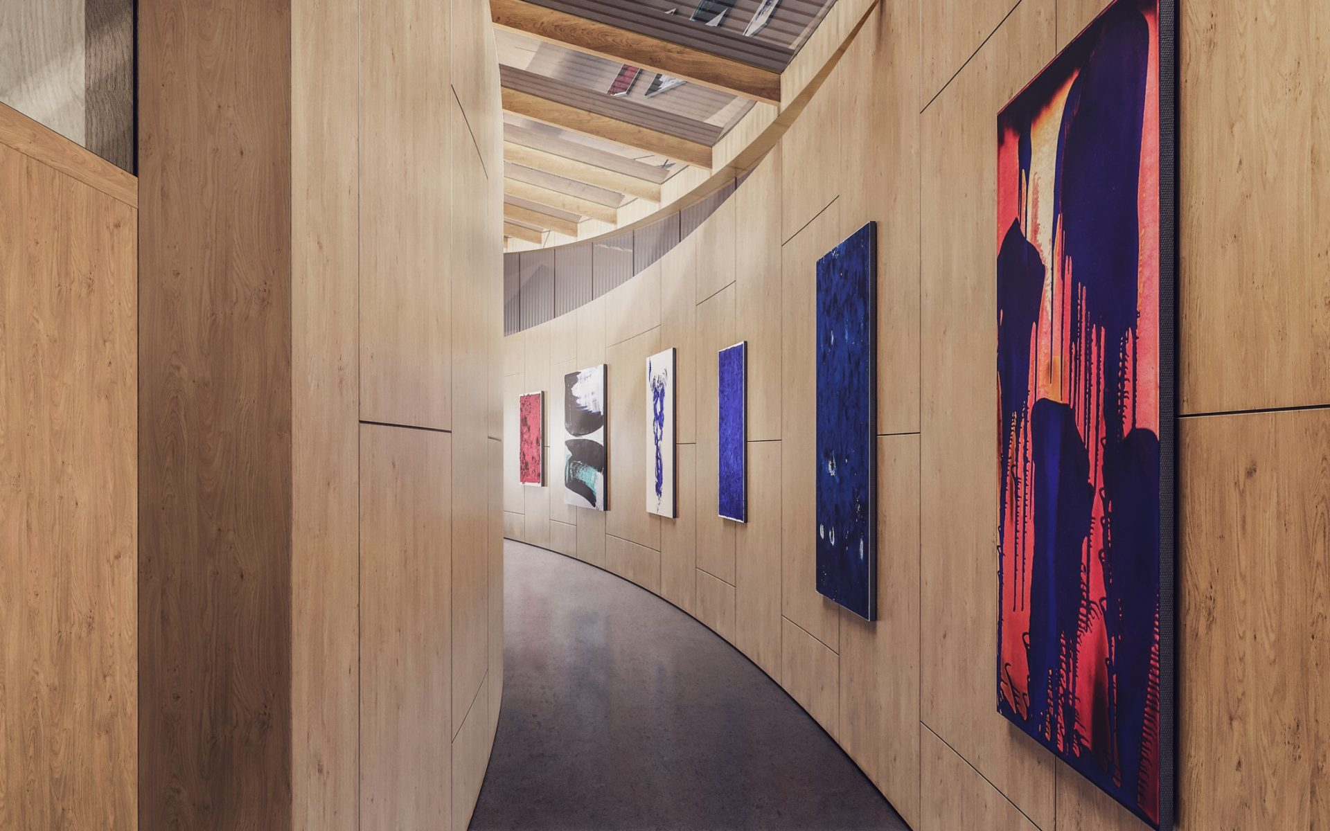korytarz jasne drewno galeria dom parterowy wizualizacja