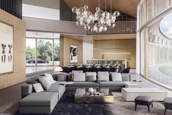 nowoczesny salon pokój dzienny w domu na parterze wizualizacja