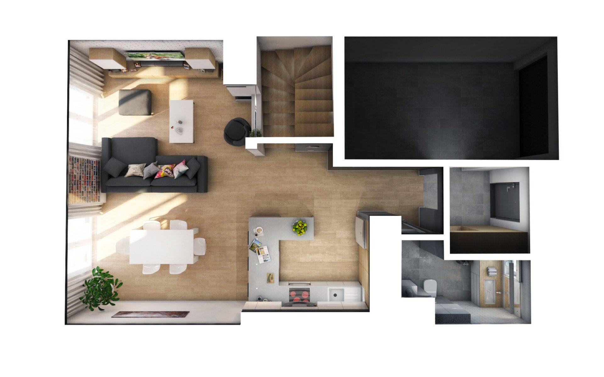 projekt aranżacji wnętrza domu jednorodzinnego wizualizacja 3d