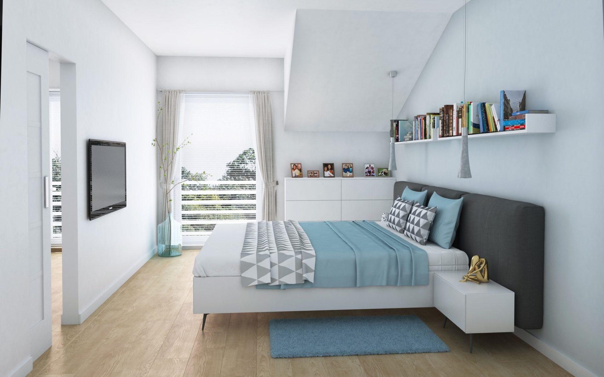 Wizualizacja wnętrza sypialnia w domu jednorodzinnym