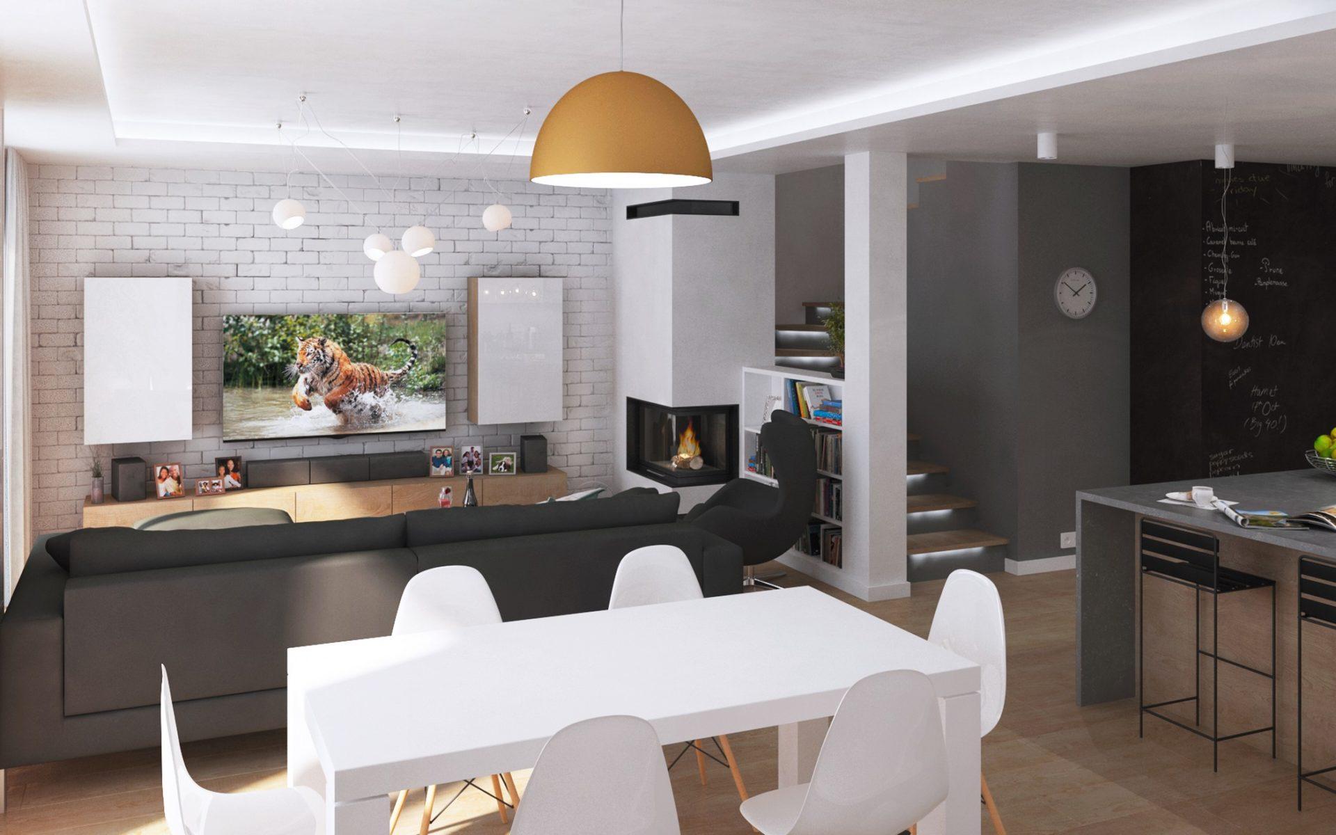 projekt aranżacji wnętrza domu jednorodzinnego Śląsk