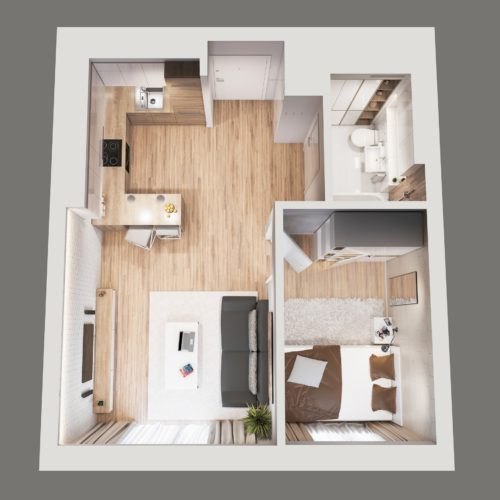 projekt koncepcyjny mieszkania deweloperskiego w sosnowcu