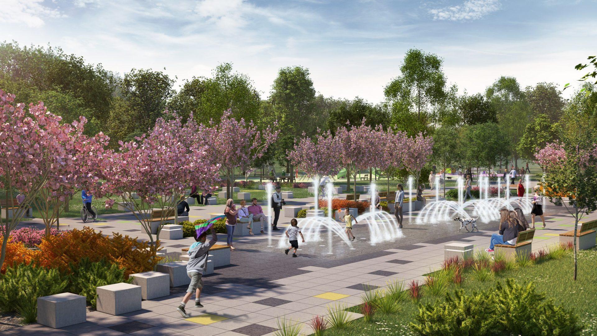 Dąbrowa Górnicza Park Hallera wizualizacje architektoniczne