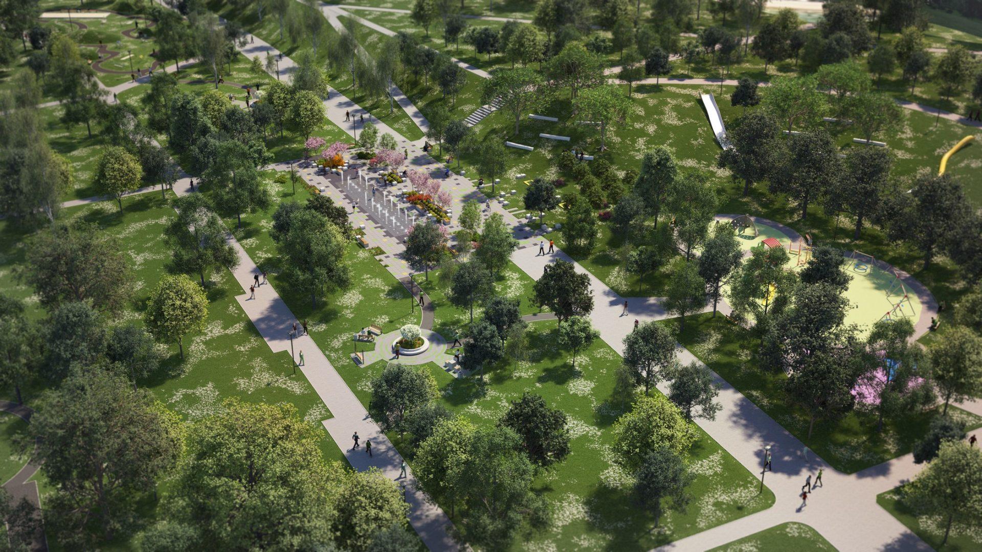 wizualizacje architektoniczne parku hallera w dąbrowie Górniczej