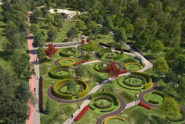 wizualizacje 3d parku w Dąbrowie Górniczej