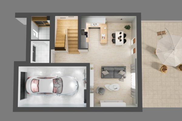 wizualizacja 3d rzut domu architekt