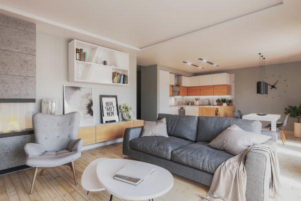 wizualizacja salonu mieszkania