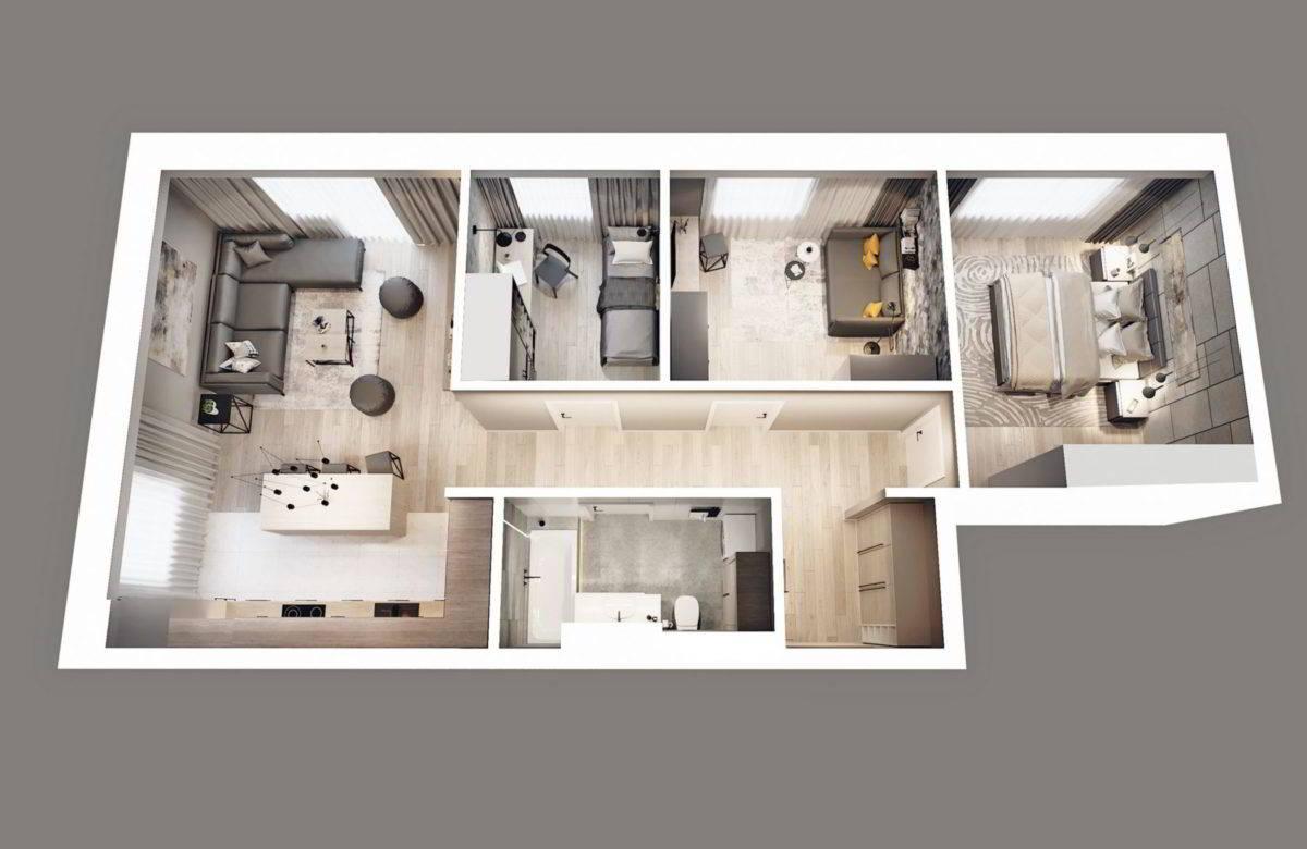 Rzut mieszkania 3d - projekt deweloperski wizualizacje wsparcie