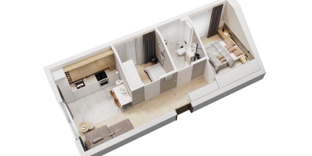 rzut 3d mieszkania Chorzów obsługa inwestycji deweloperskiej