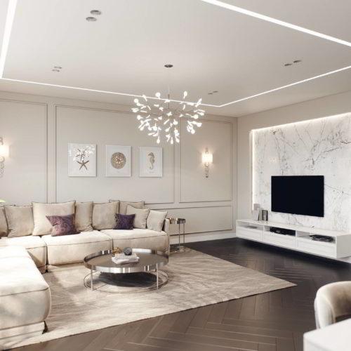 salon wizualizacja 3d przykładowego mieszkania dla dewelopera