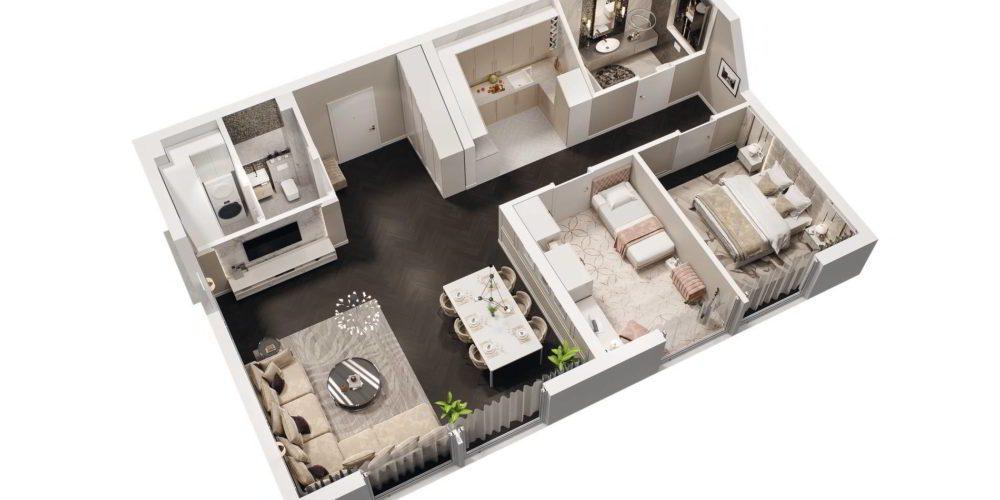 wizualizacja 3d rzut wnętrza mieszkania