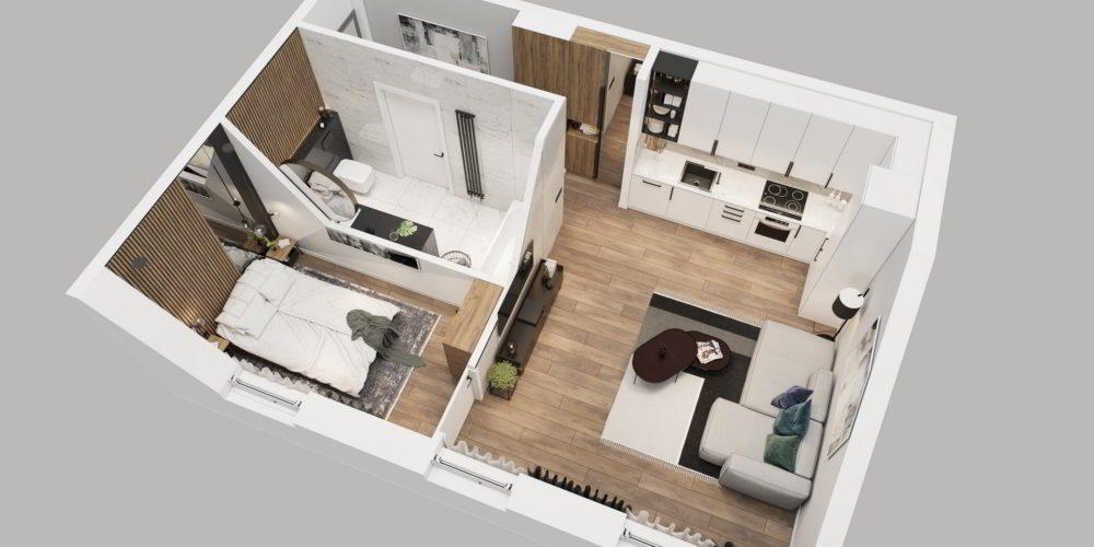 Projekt mieszkania w kamienicy wizualizacja architektoniczna architekt Katowice